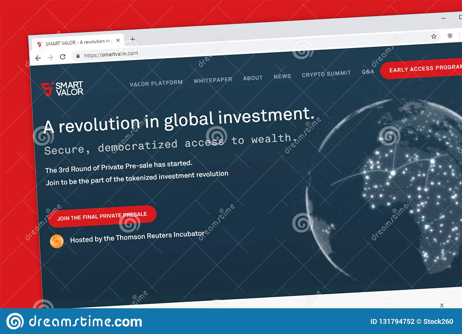 Plataforma esperta da valentia para democratizar o acesso à riqueza através do Web site tokenized do investimento