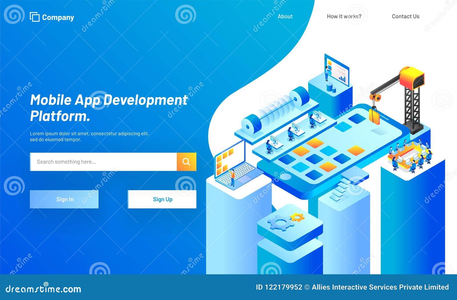 Plataforma móvel do desenvolvimento do App, ilustração isométrica de esperto