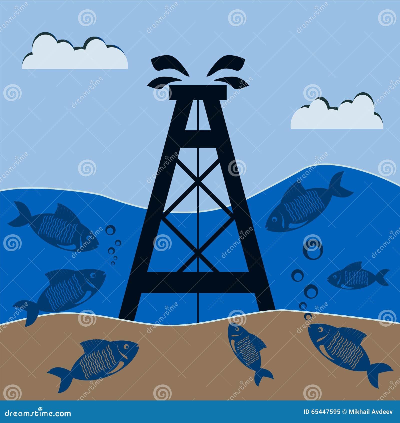 Plataforma petrolífera sob a água com os peixes Produção mineral