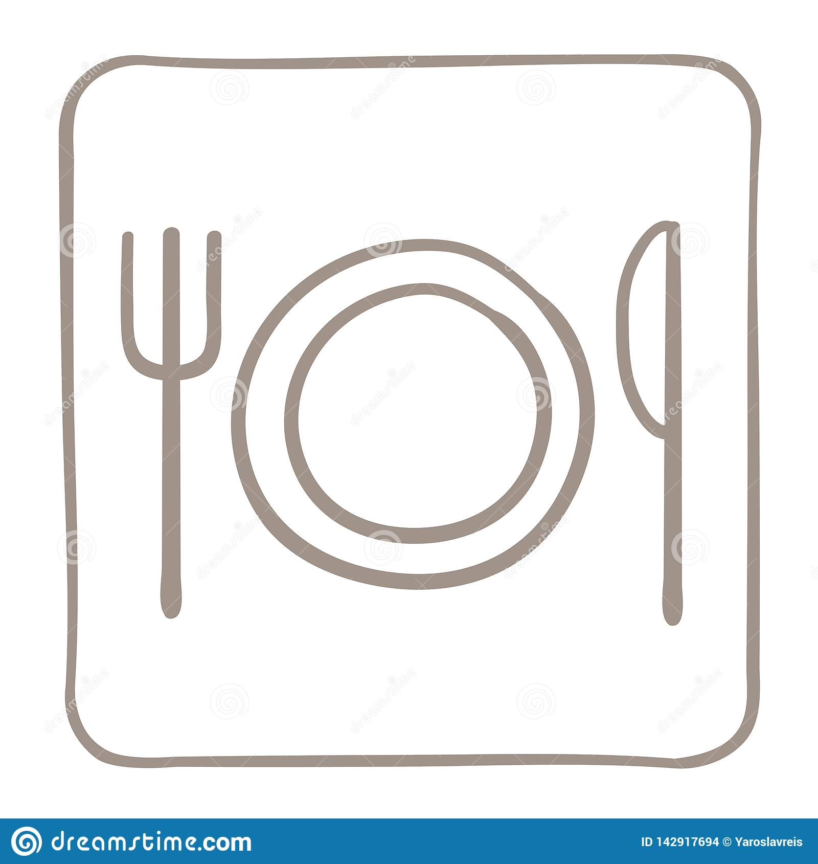 Cutlery Icon in a light brown frame. Vector graphics.