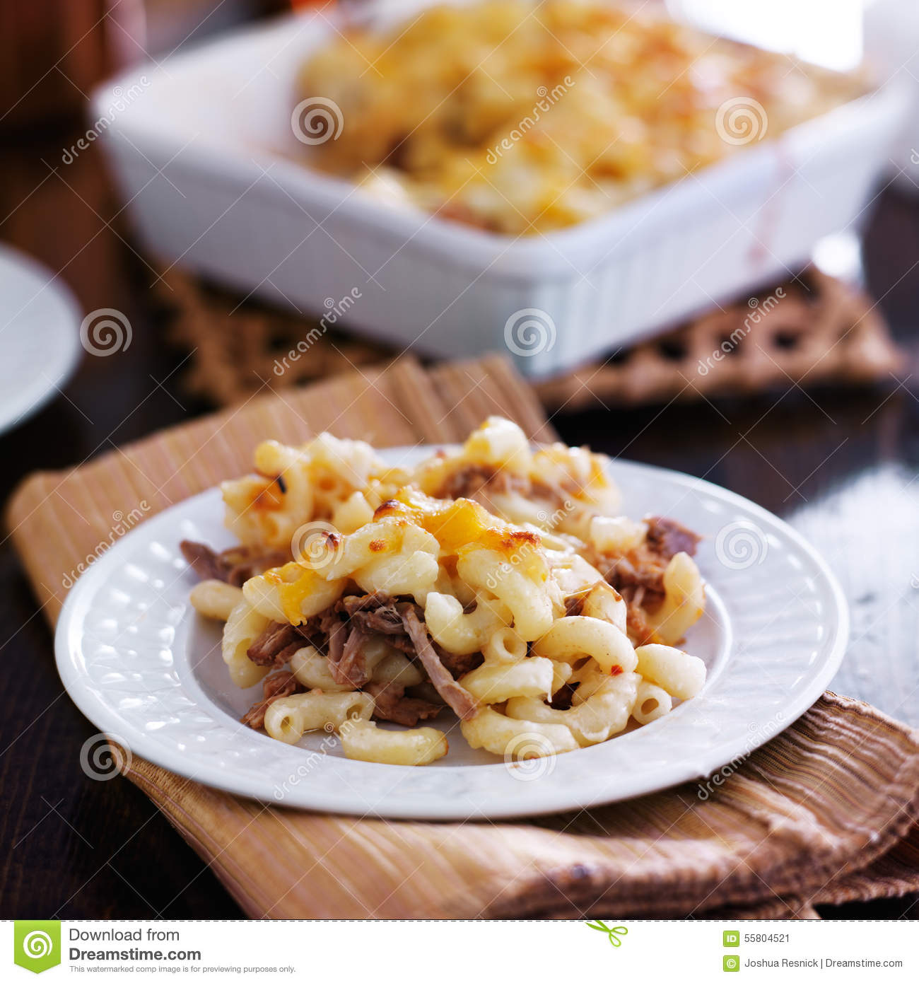 Plate Of Baked Macaroni And Cheese Casserole Stock Image ...