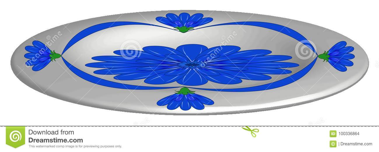 Plate, with blue flowers
