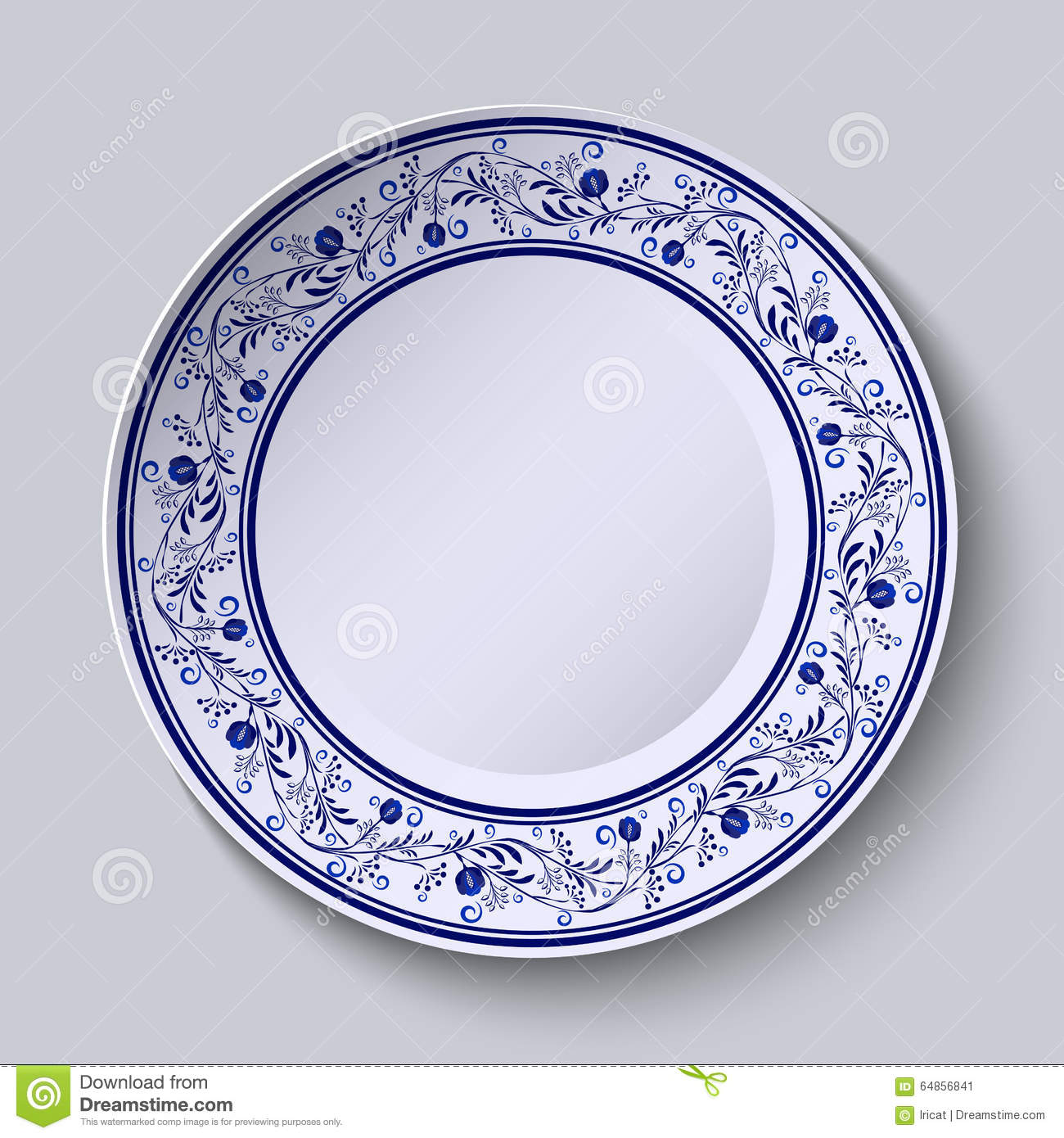 Plate With Blue Patterned Border. Template Design In Ethnic Style ...