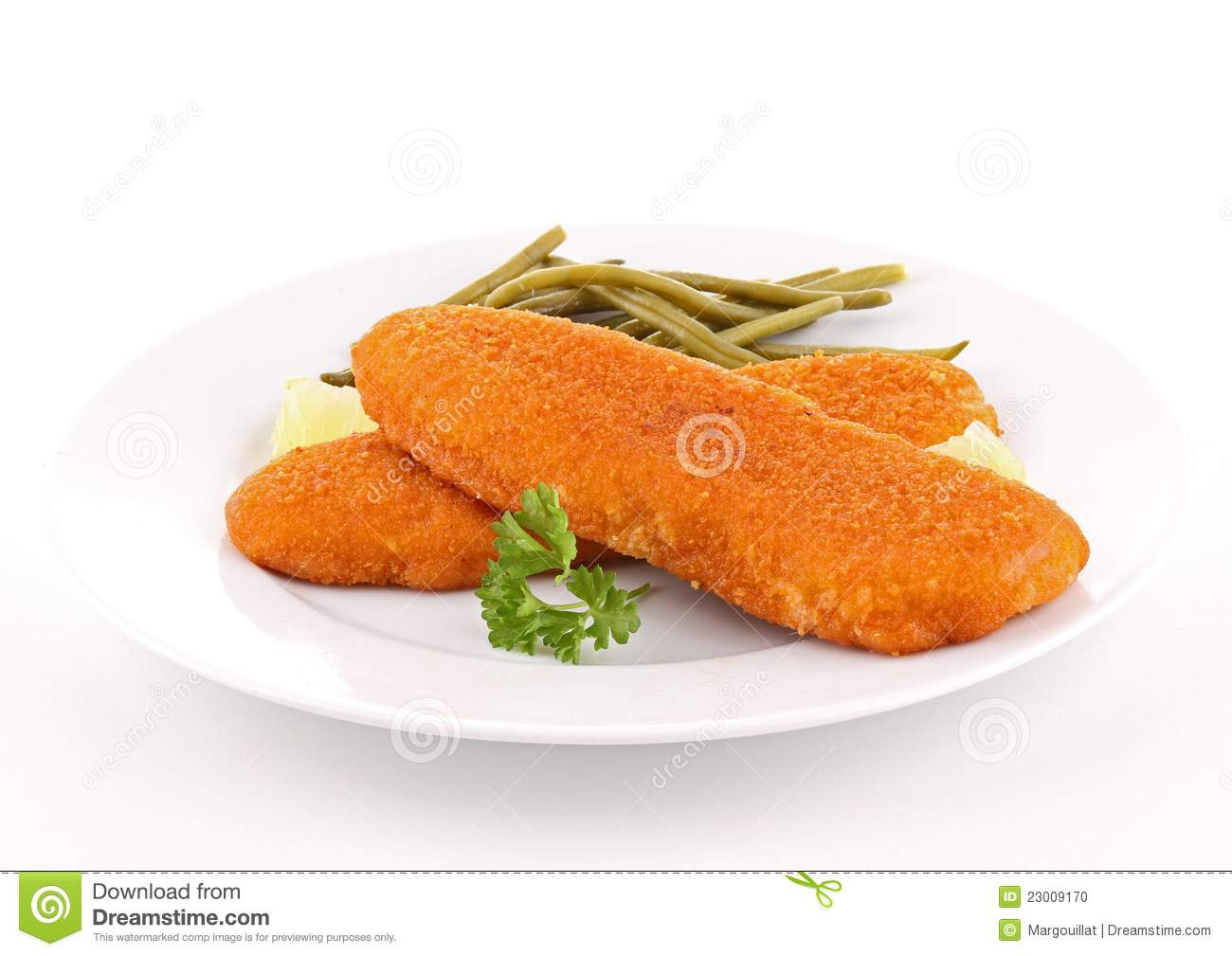 Plate of breaded fish and vegetable stock photo image for How to bread fish
