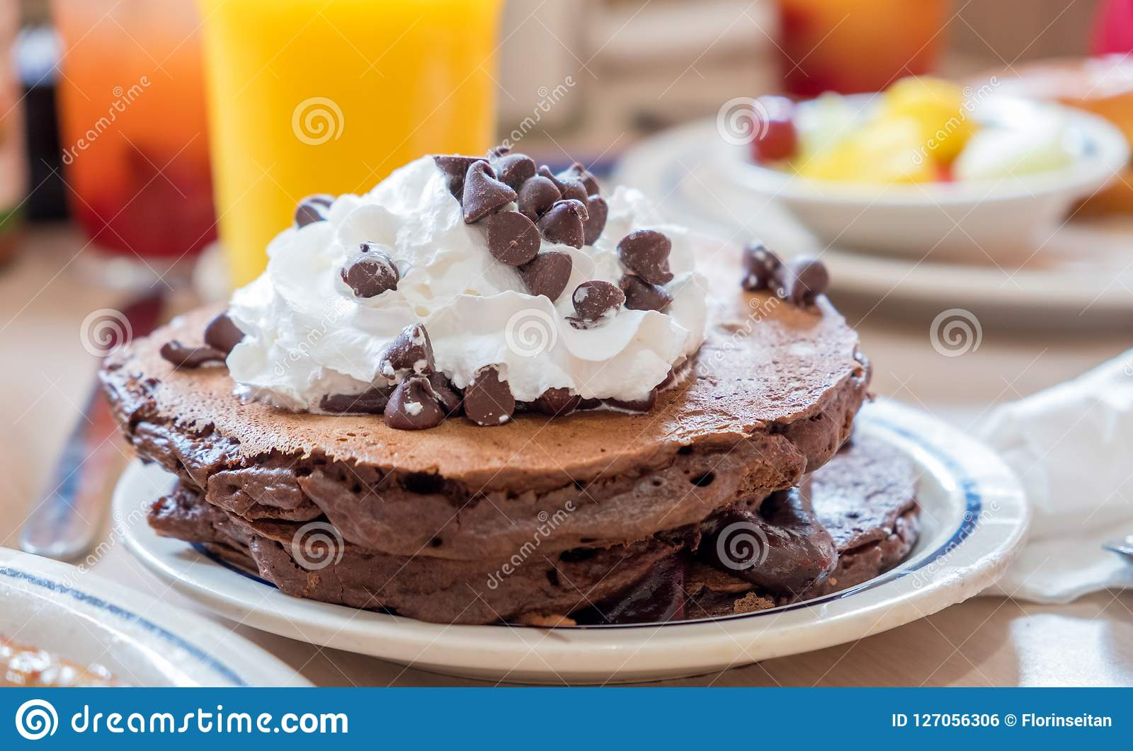 Plate Of Chocolate Pancakes With Whipped Cream And Chocolate Chi Stock Photo Image Of Morning Desert 127056306