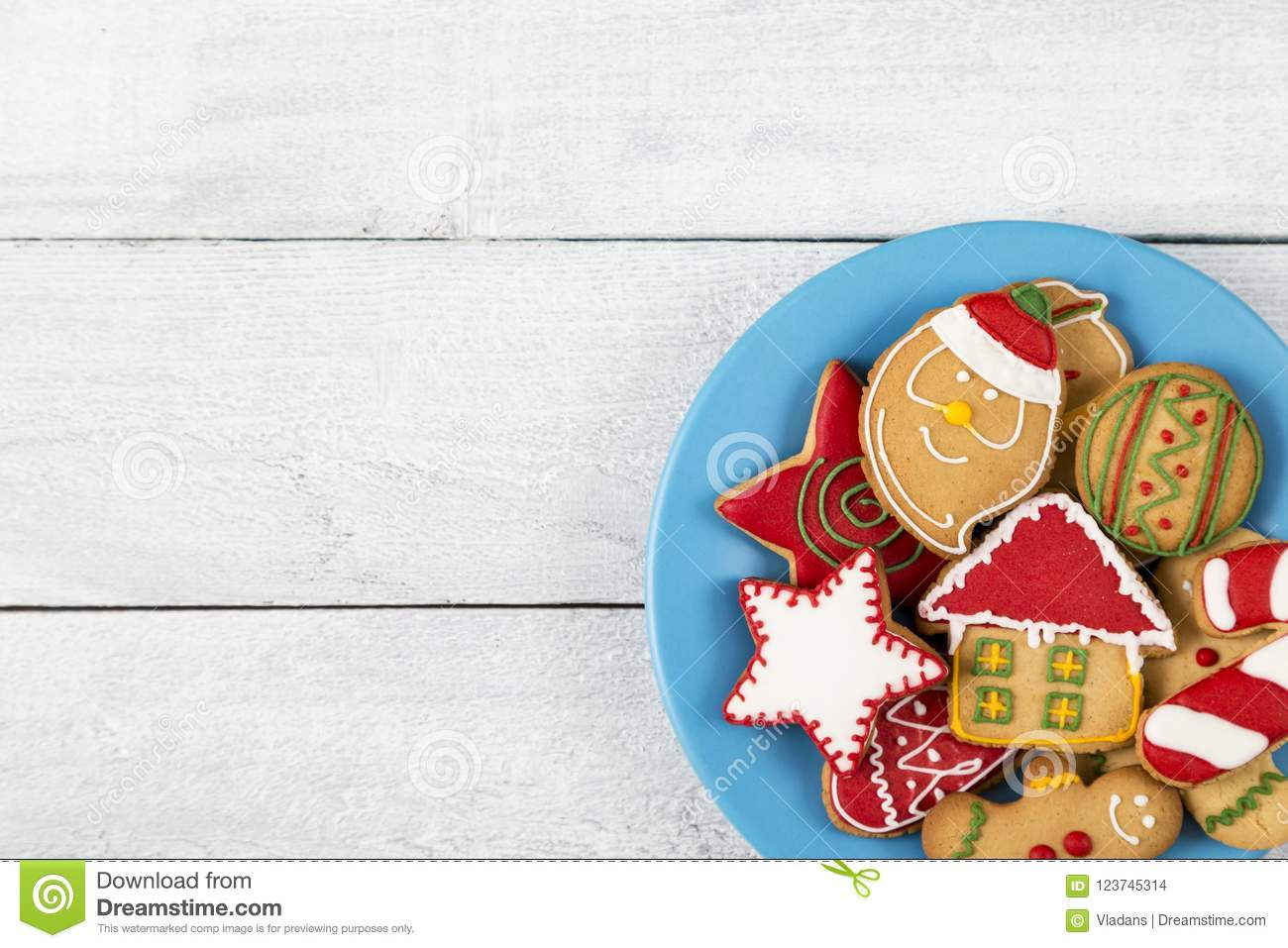Plate With Christmas Cookies Stock Photo - Image of card, crispy ...