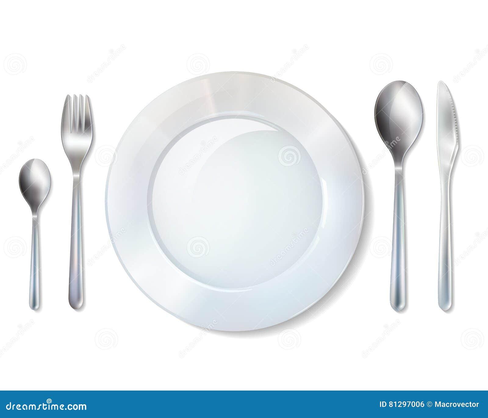Vector Realistic Cutlery Set Silver Or Steel Fork Spoon