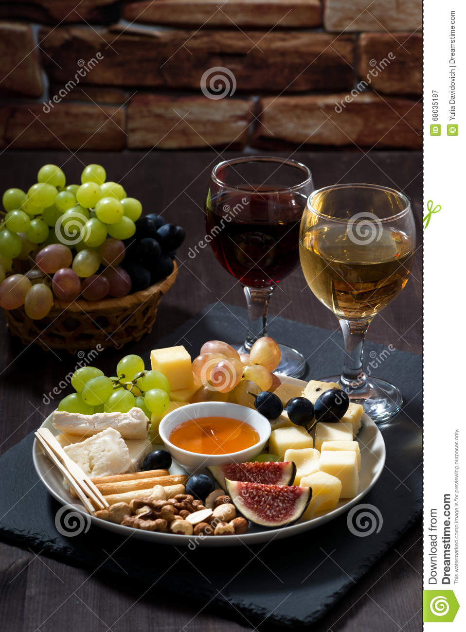 Plate With Deli Snacks And Wine On A Dark Background Vertical Stock Image Image Of Brie Alcohol 68035187