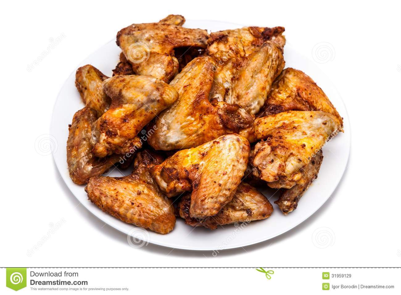 Plate Of Delicious Barbecue Chicken Wings Royalty Free