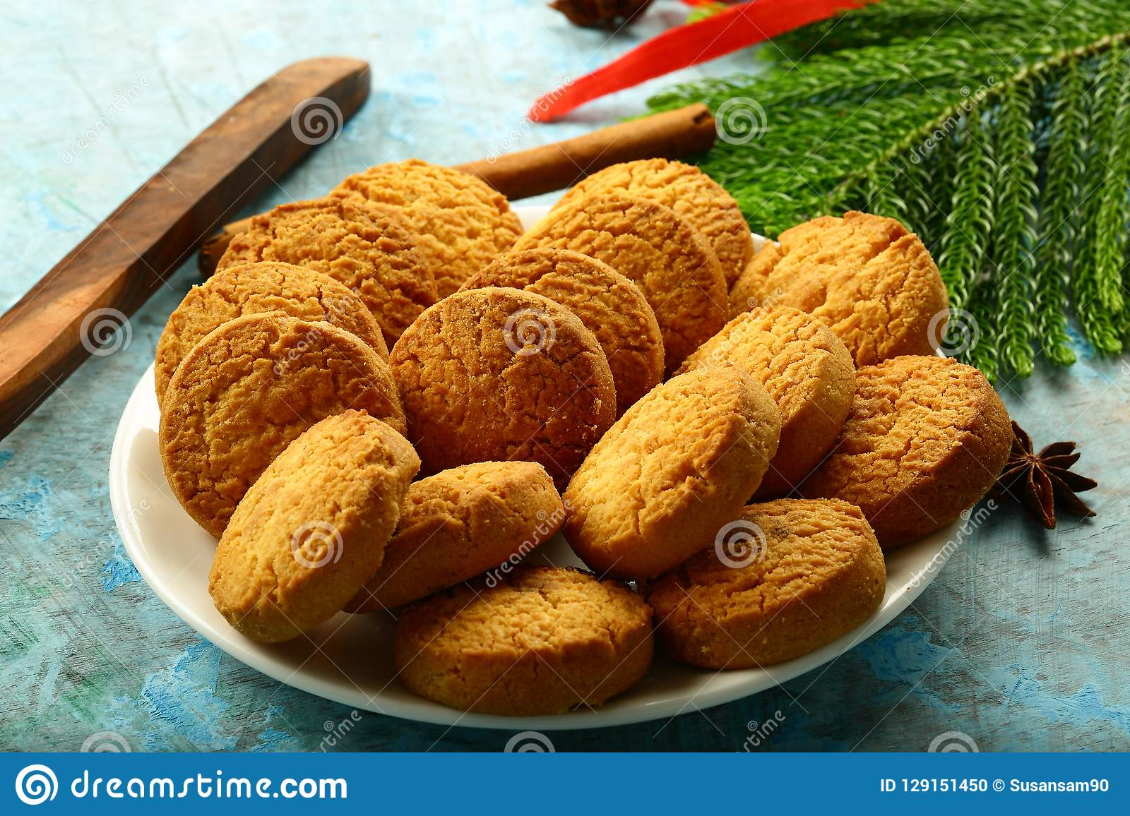 Plate Of Delicious Homemade Cookies Christmas Background Stock