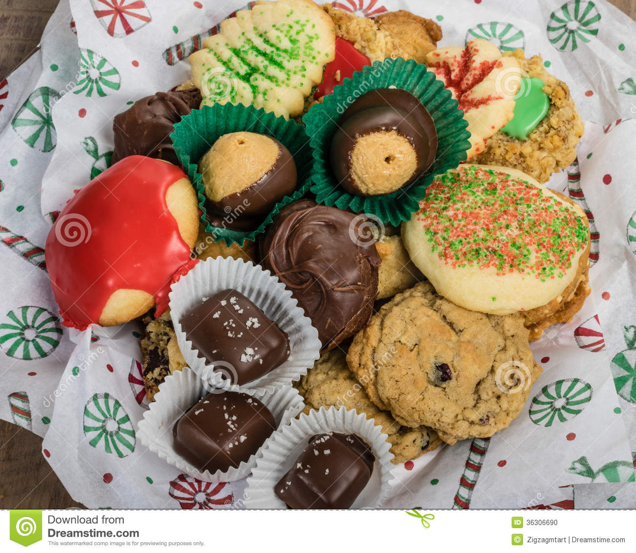 Plate of fancy cookies for holiday stock photo image 36306690