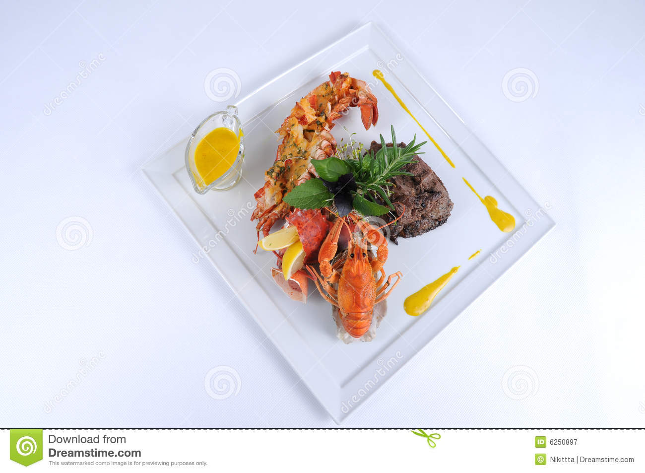 Plate Of Fine Dining Meal Beef With Lobster Stock Image