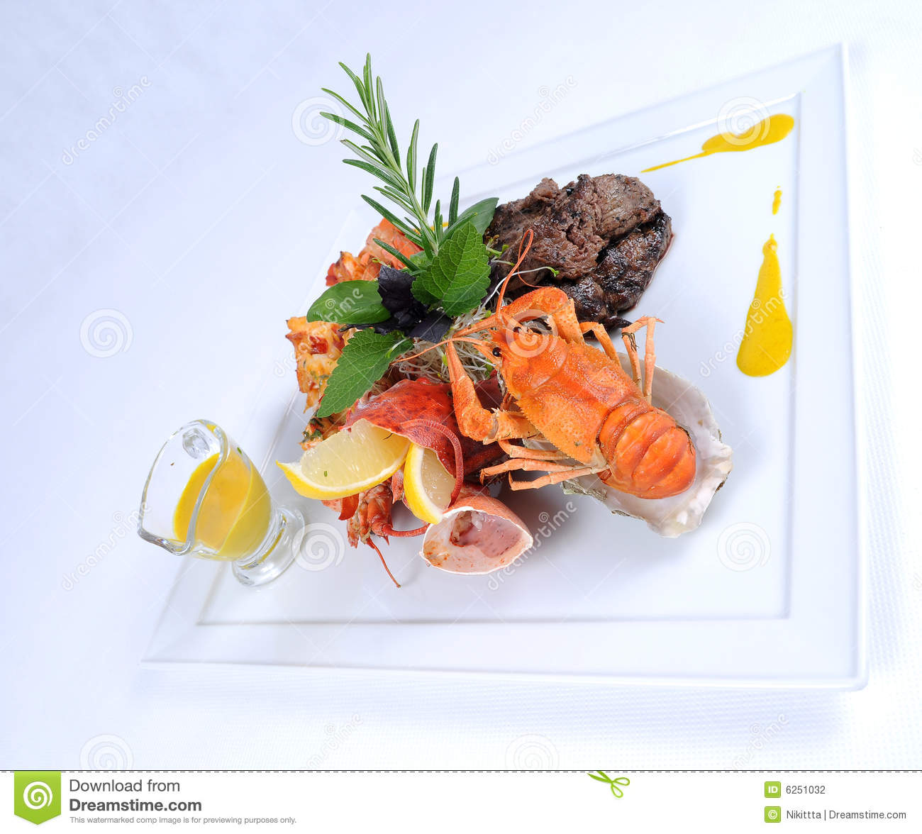 Plate Of Fine Dining Meal Beef With Lobster Stock Photo