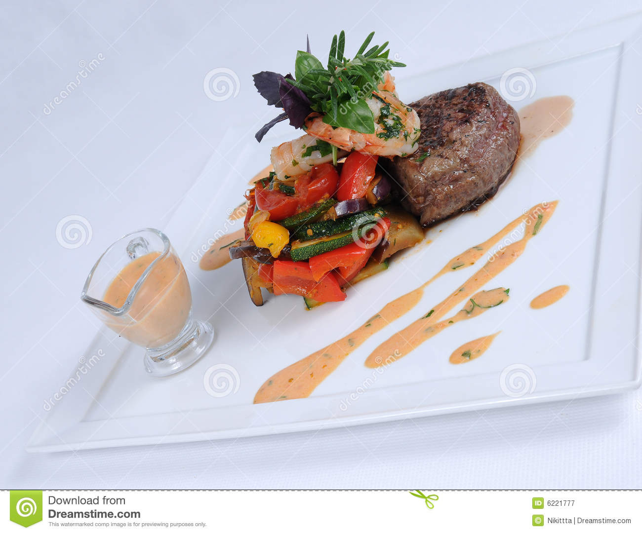 Plate Of Fine Dining Meal Steak And Shrimps 3 Royalty