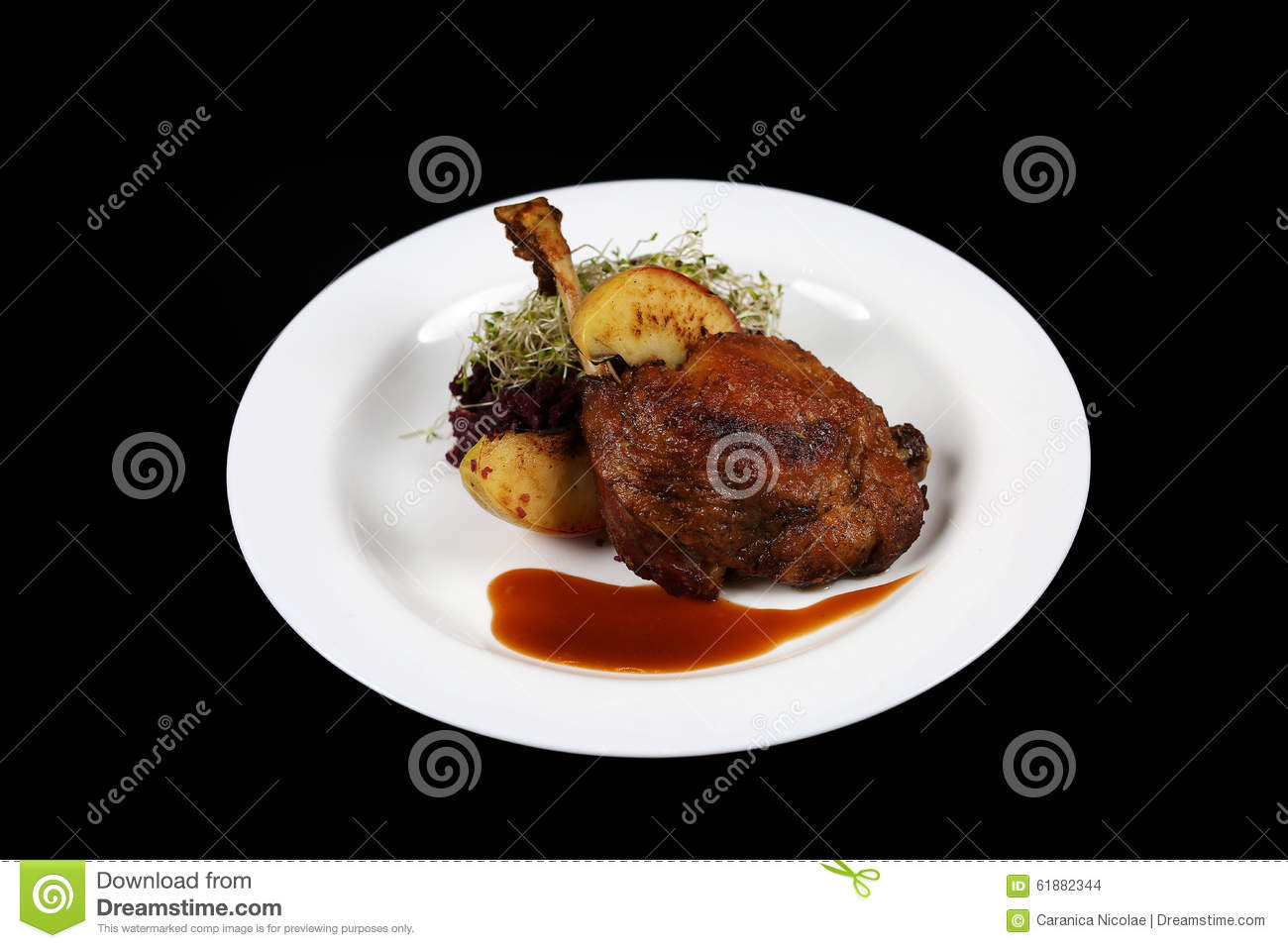 Plate With Food On A Black Background Stock Photo - Image ...
