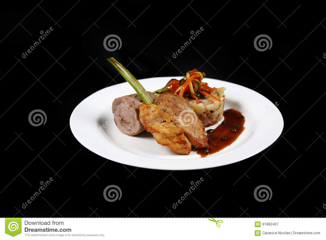 Plate With Food On A Black Background Stock Photo ...