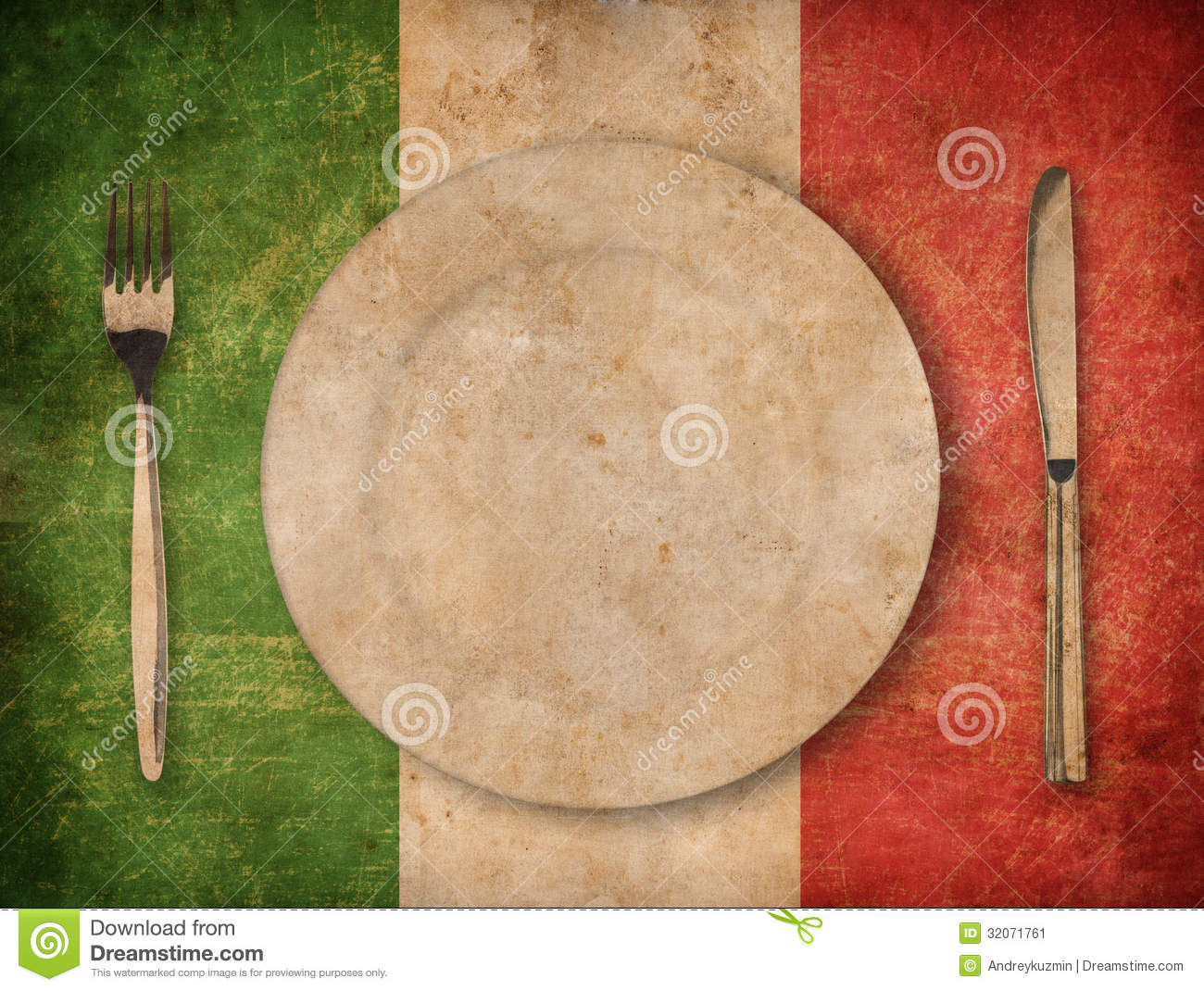 Plate Fork And Knife On Grunge Italian Flag Background