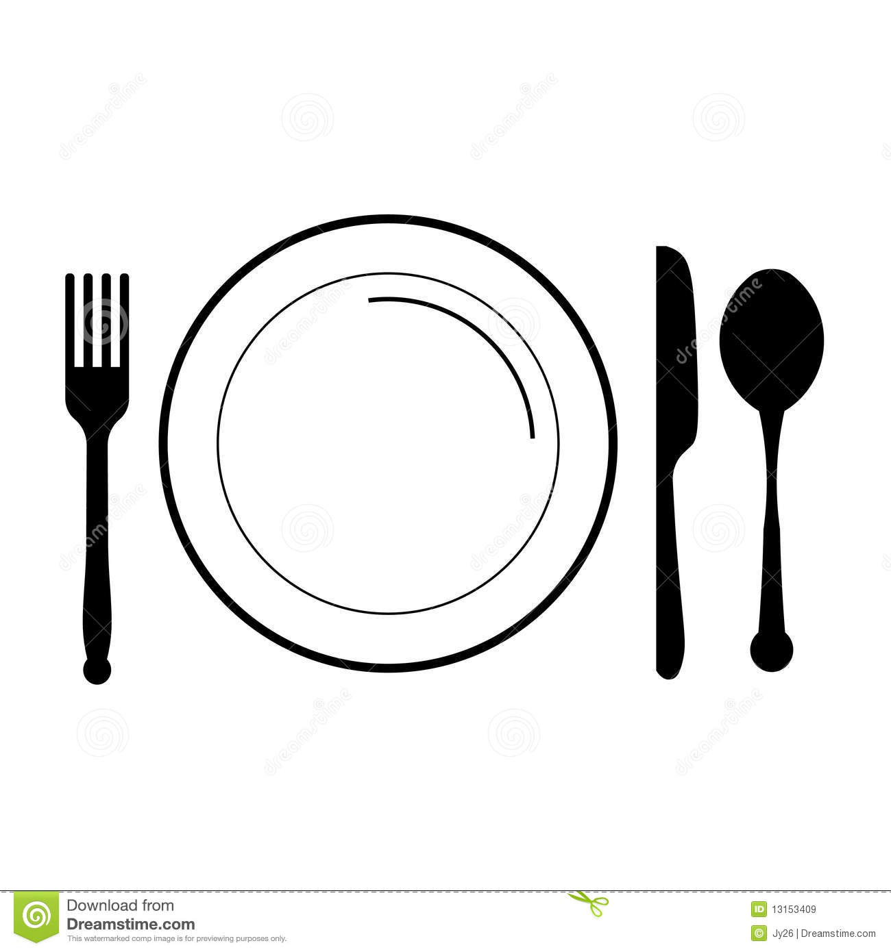 Plate with fork, knife , spoon