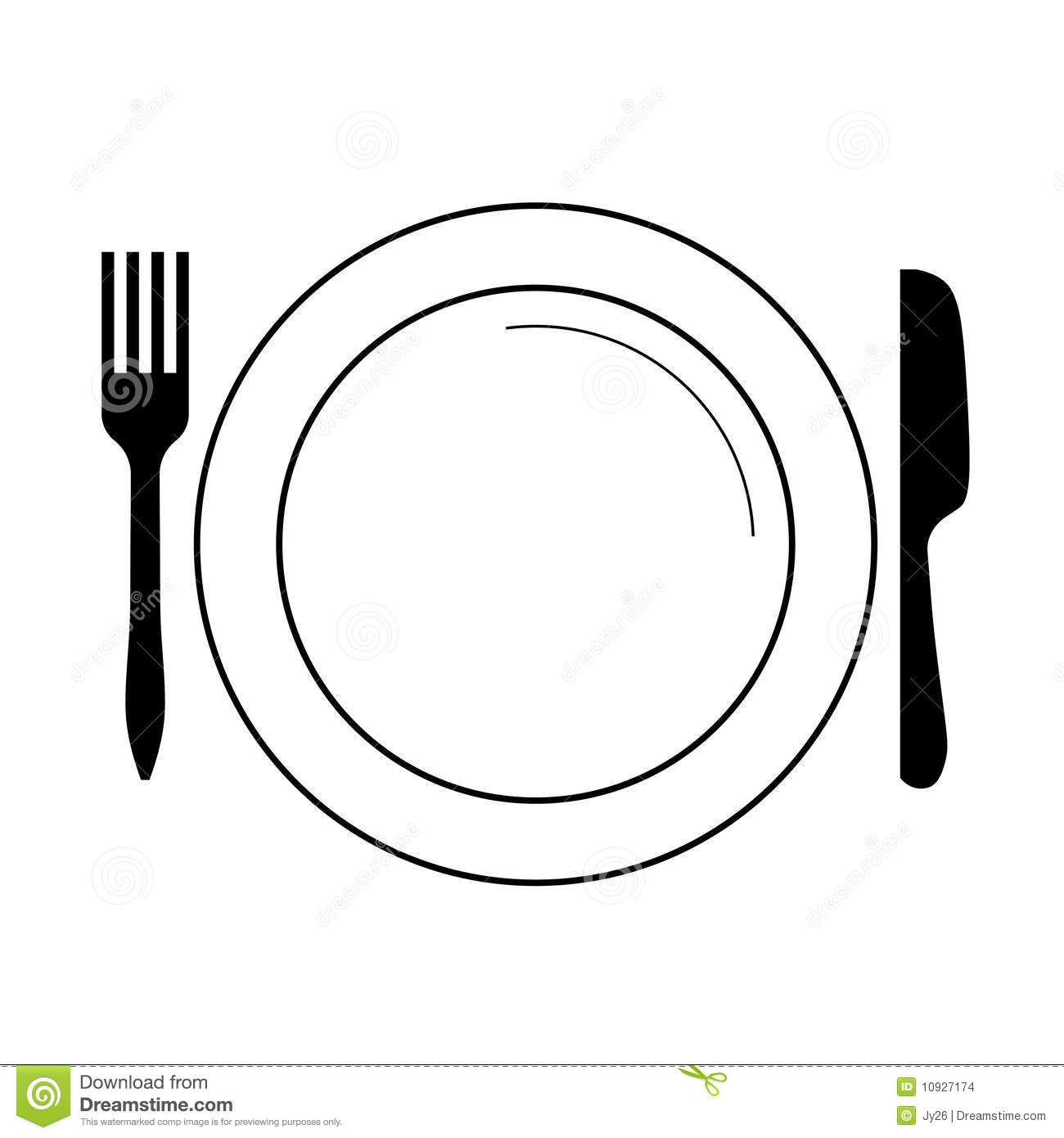 Plate with fork  knife...
