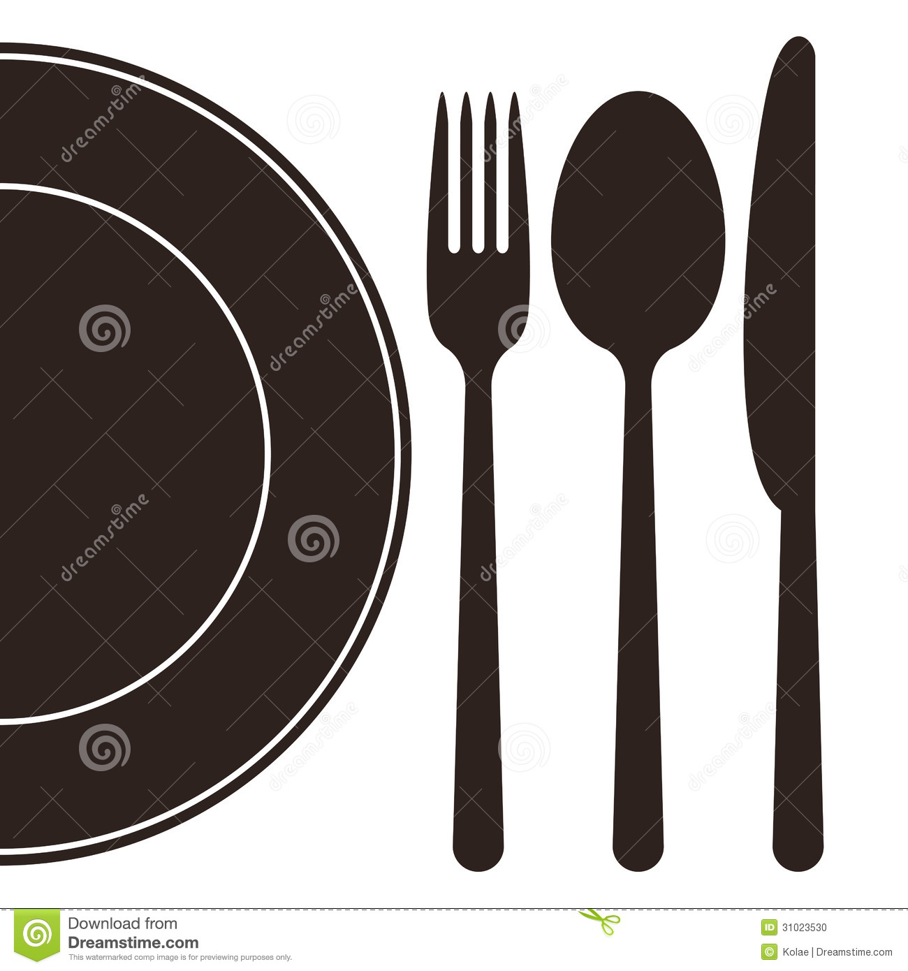 Plate Fork Spoon And Knife Stock Photo Image 31023530