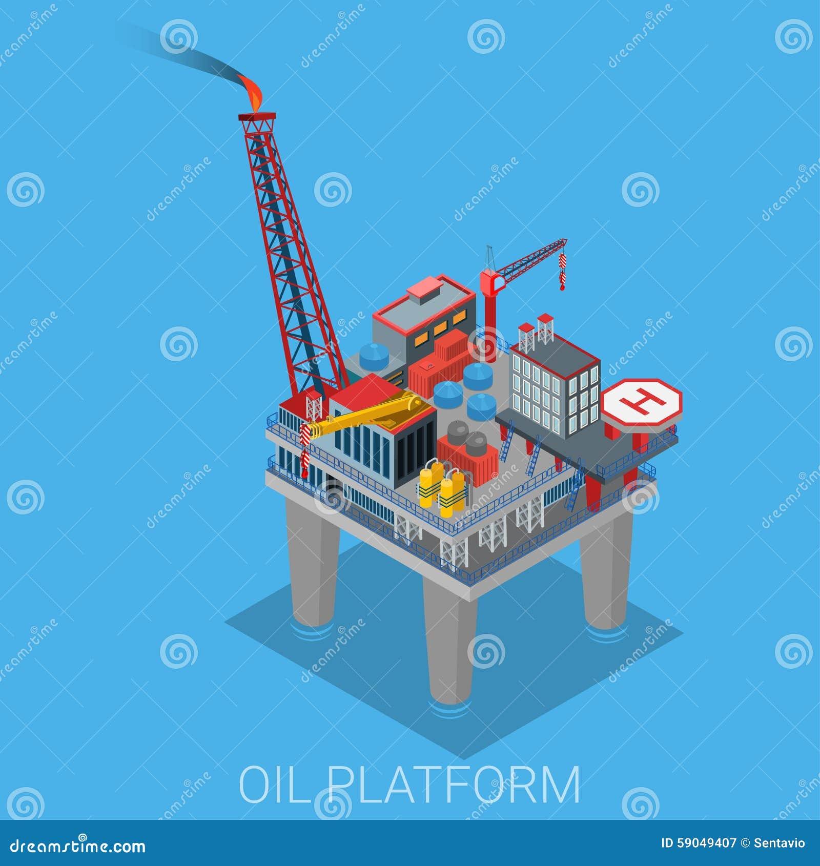 Plate-forme d extraction de l huile de mer avec l héliport