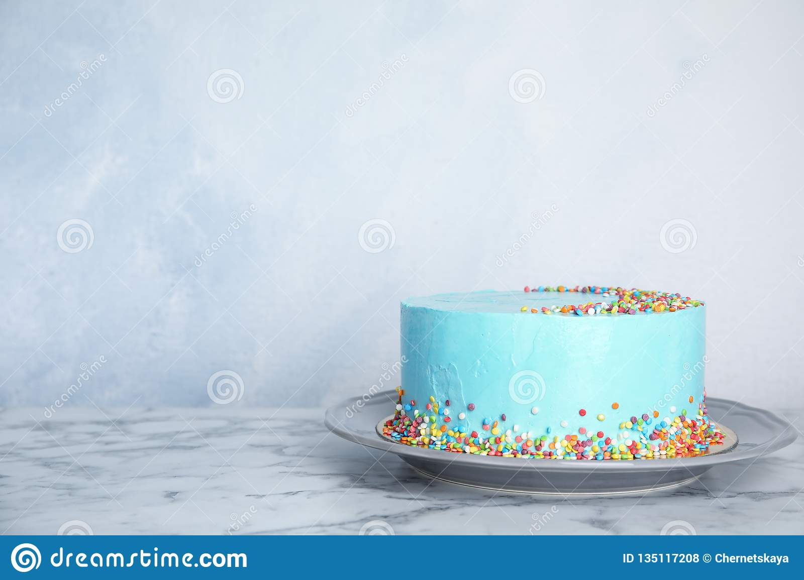 Prime Plate With Fresh Delicious Birthday Cake On Table Against Color Funny Birthday Cards Online Elaedamsfinfo