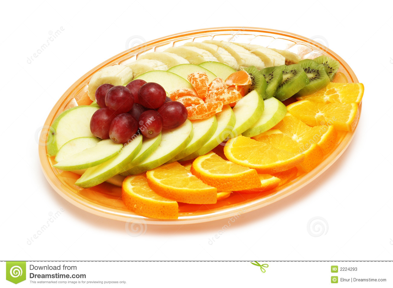 Plate with fruit salad isolated on white - space for your text.