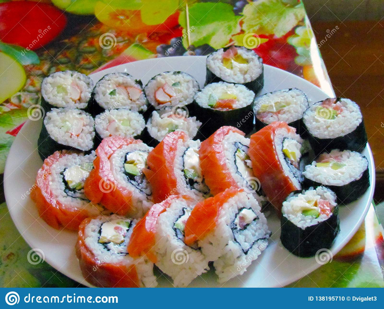 A plate full of fresh, mouth-watering sushi