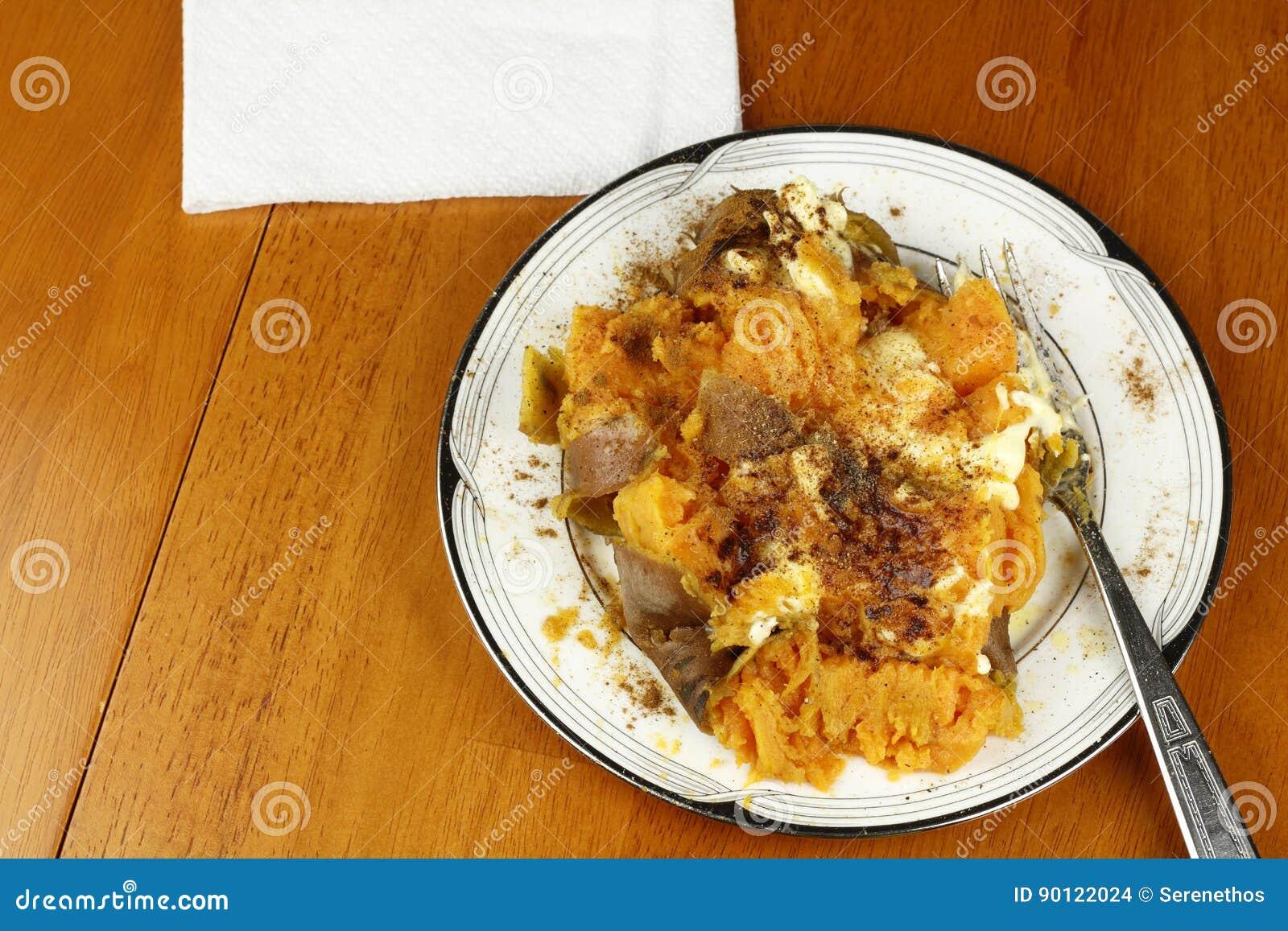 Plate Full of Seasoned Sweet Potato