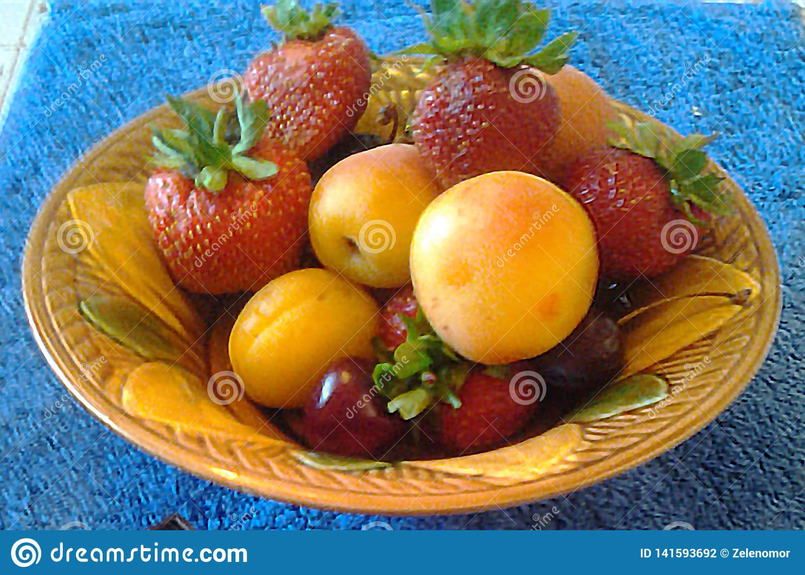 Apricots, peaches, strawberries and cherries.