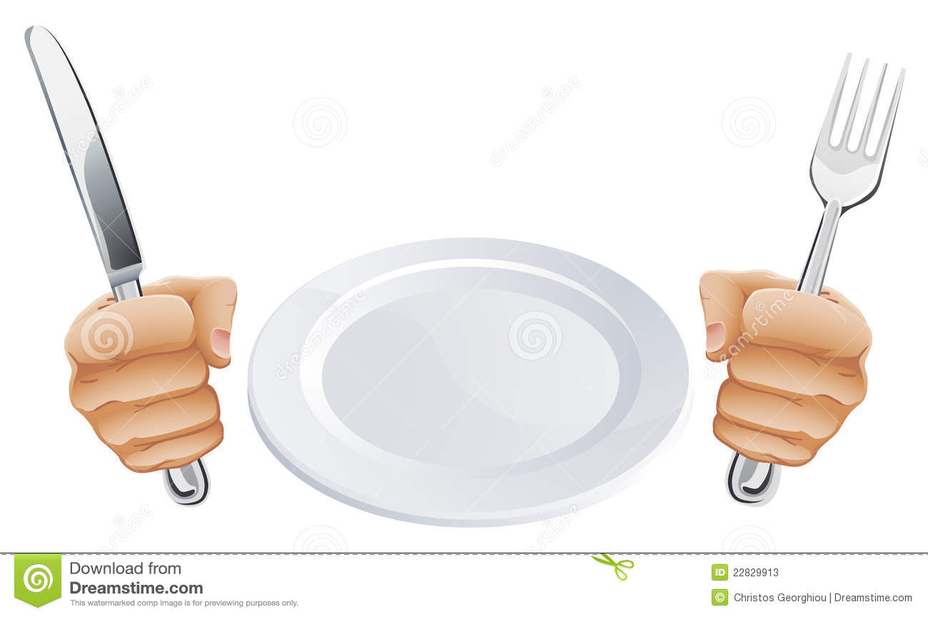 Plate And Hands Holding Cutlery Stock Photos Image 22829913