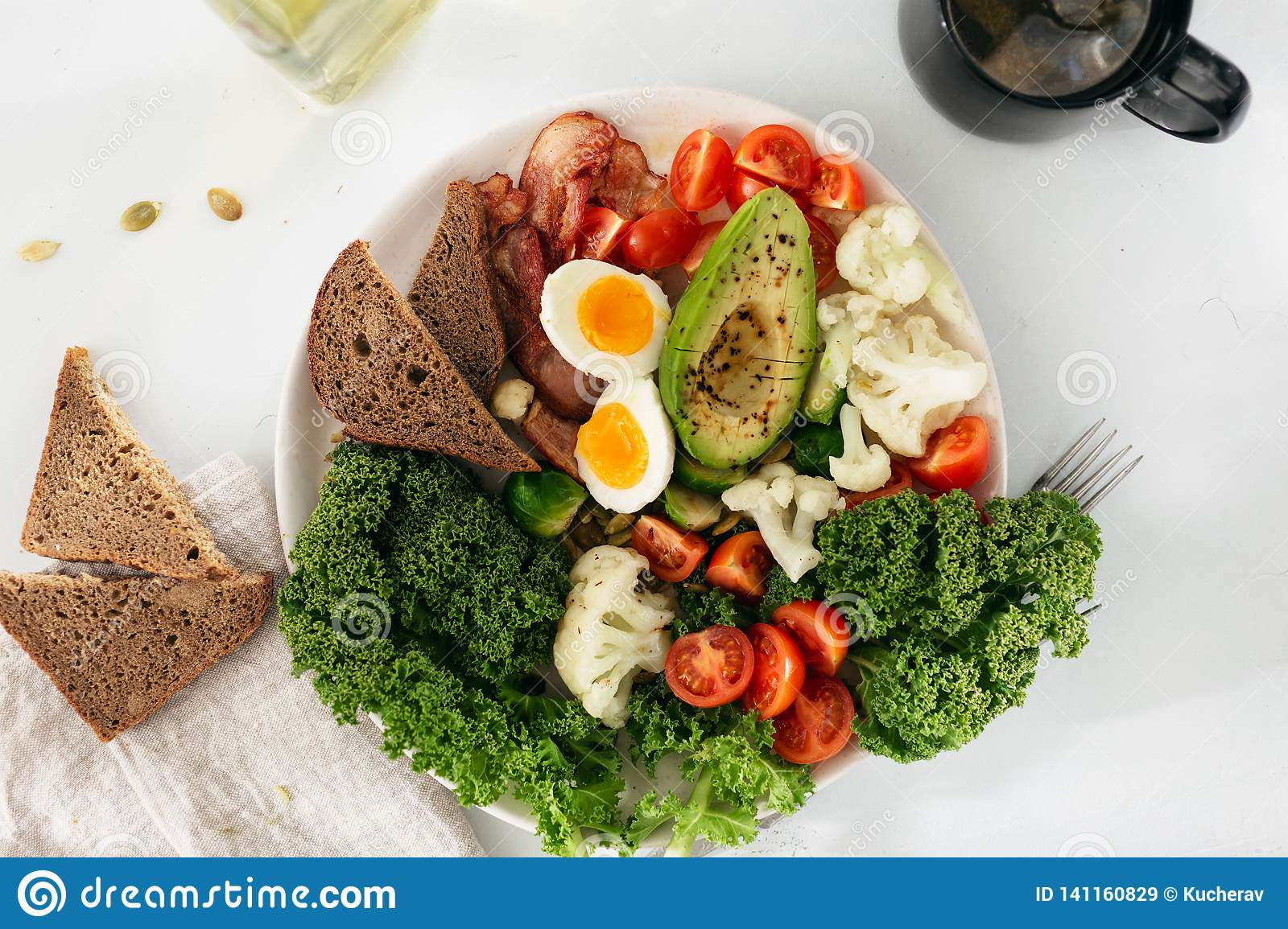 Plate Healthy Food Breakfast Lunch Top View Balanced Food Stock Image Image Of Flat Dinner 141160829