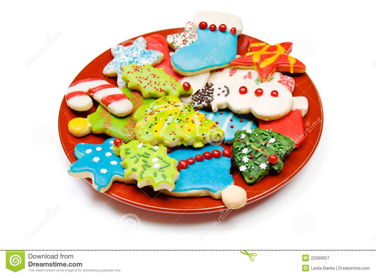 Plate Of Iced Christmas Cookies On White Royalty Free Stock ...