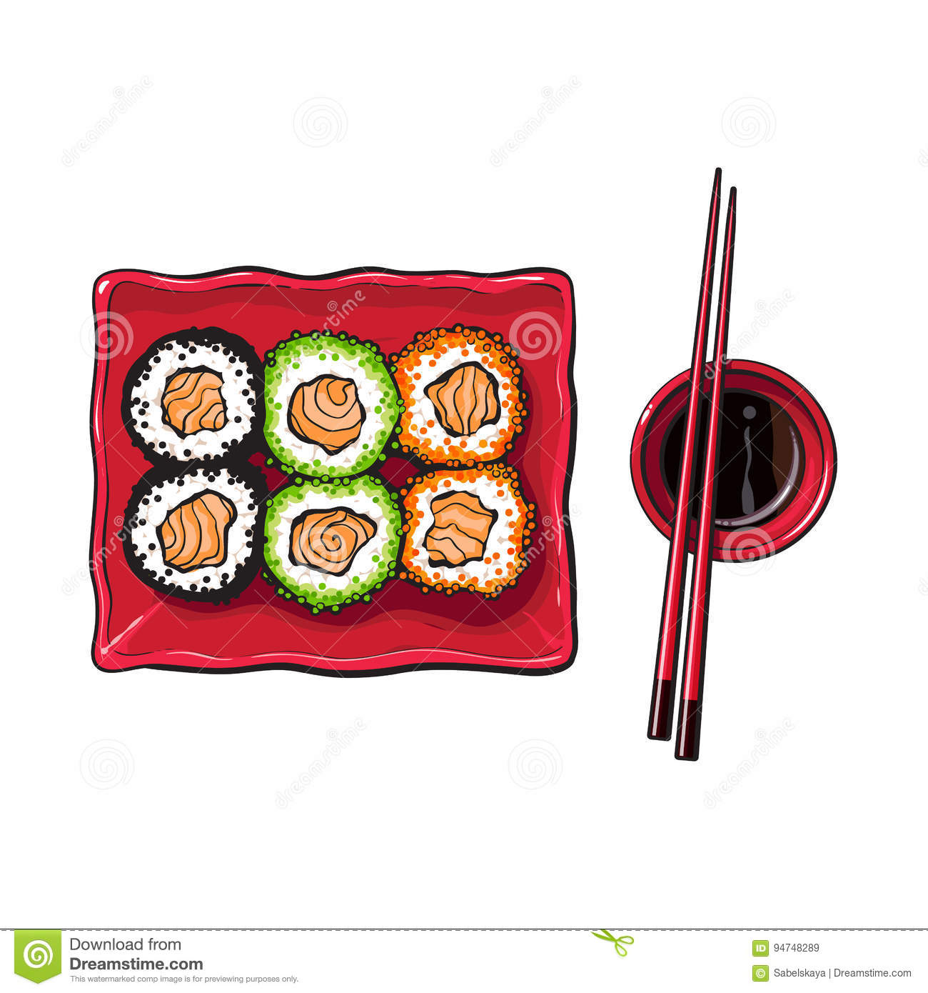 Plate of Japanese sushi, rolls, chosticks and soy sauce bowl