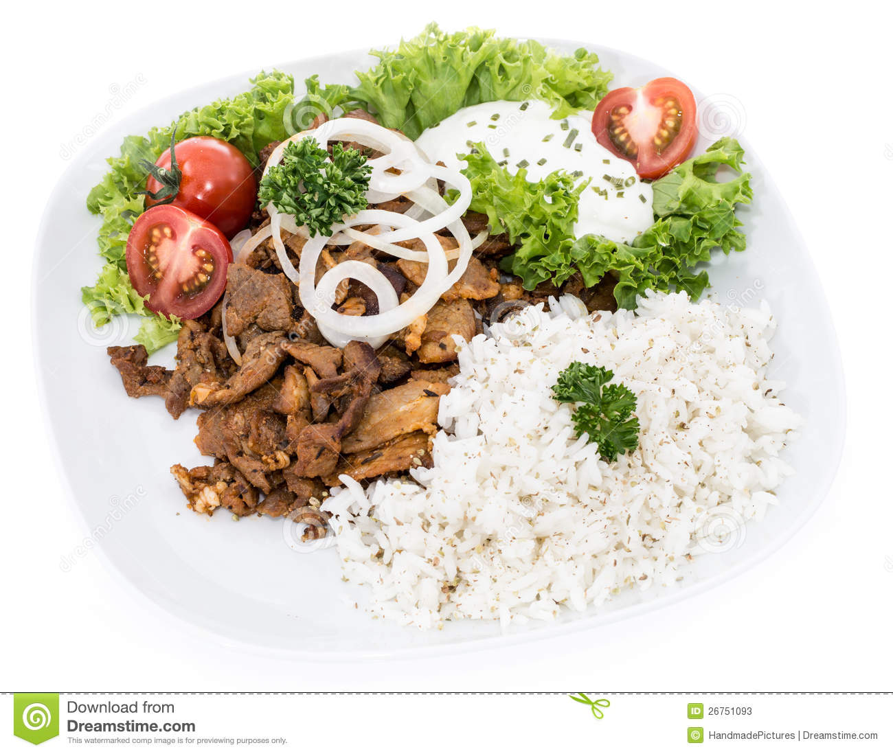 Plate With Kebab And Rice On White Stock Photos - Image: 26751093