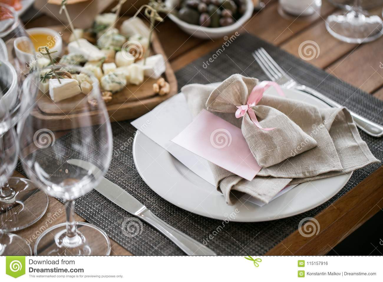 Plate With Linen Napkin And Pouch Gift Luxury Wedding Reception In Restaurant Stylish Decor And Adorning Tables Stock Photo Image Of Banquet Celebration 115157916