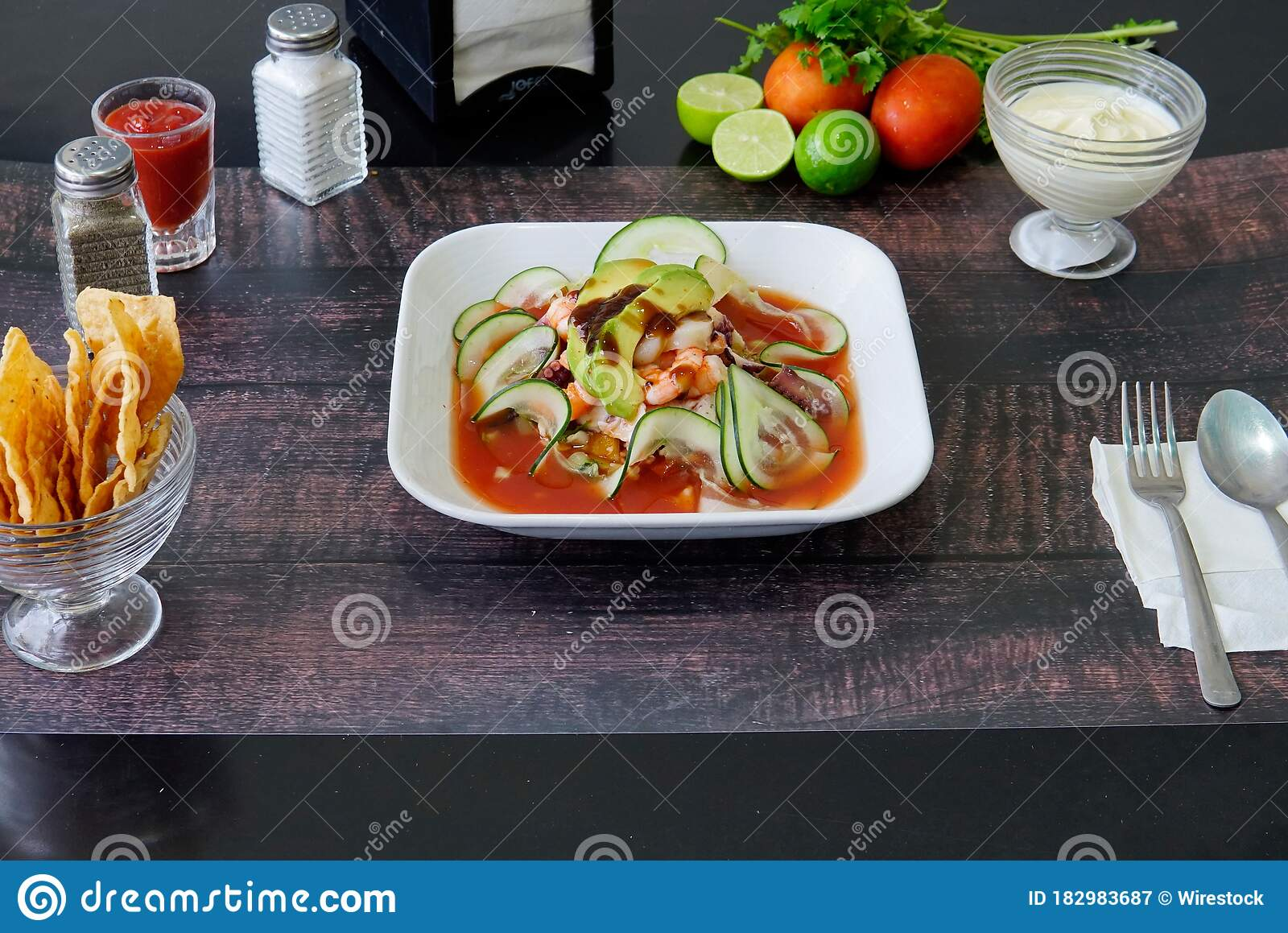 Plate With Mexican Seafood Soup With ...