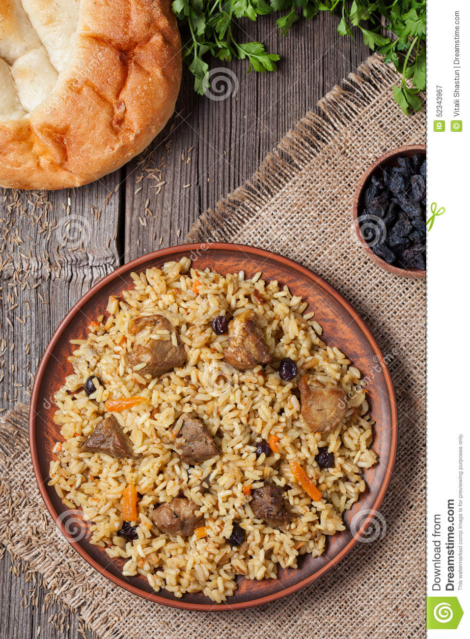 Pilaf Is Spicy Indian Food Cooked With Lot Of Rice Stock ...