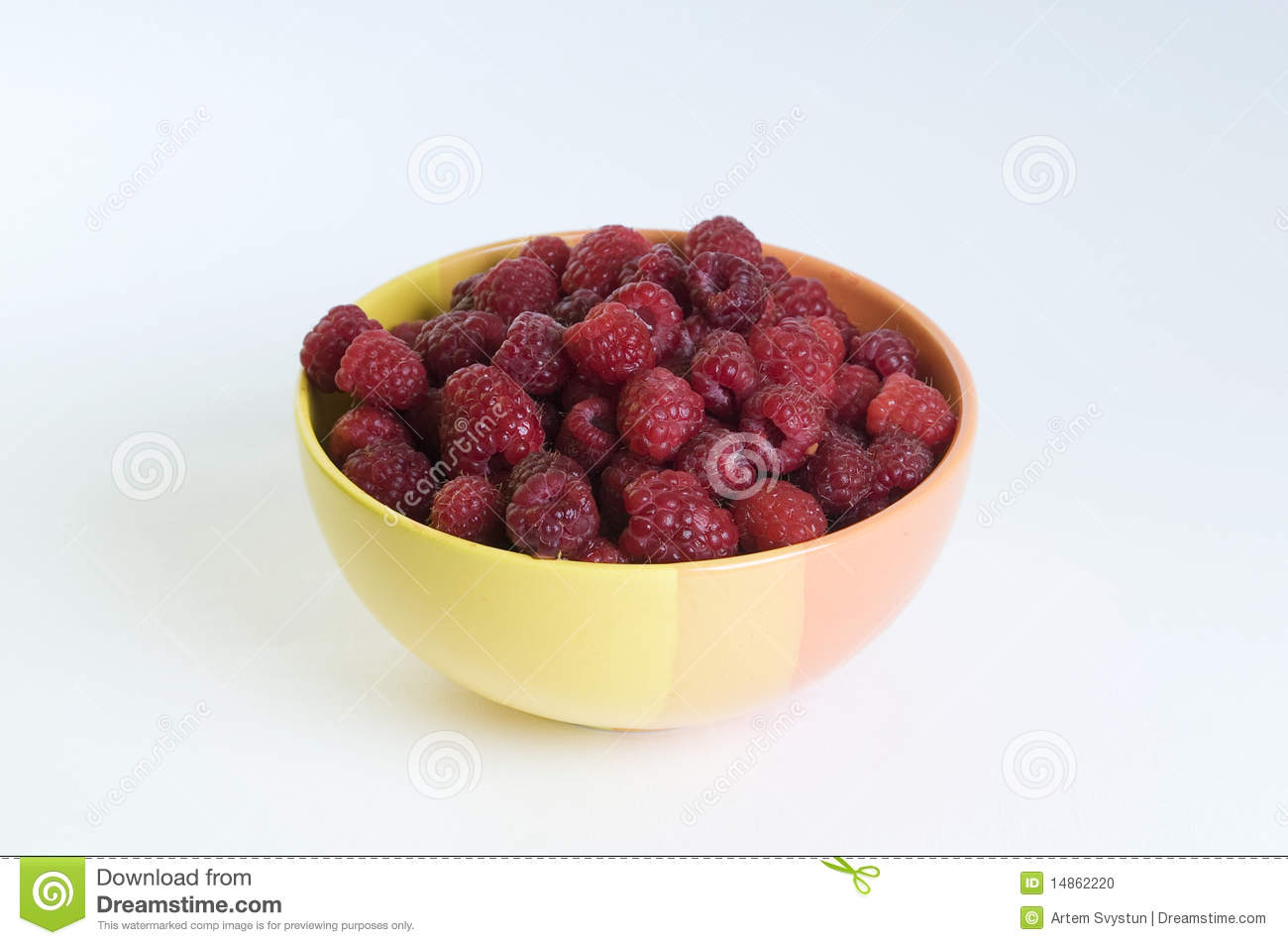 Plate with raspberries