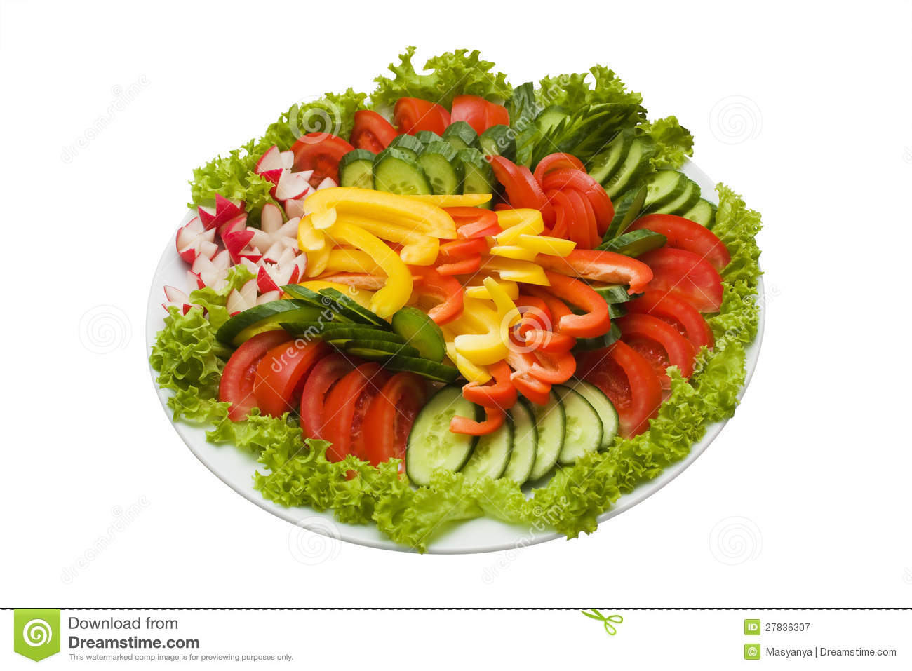 Royalty Free Stock Photography: Plate of sliced vegetables isolated on ...