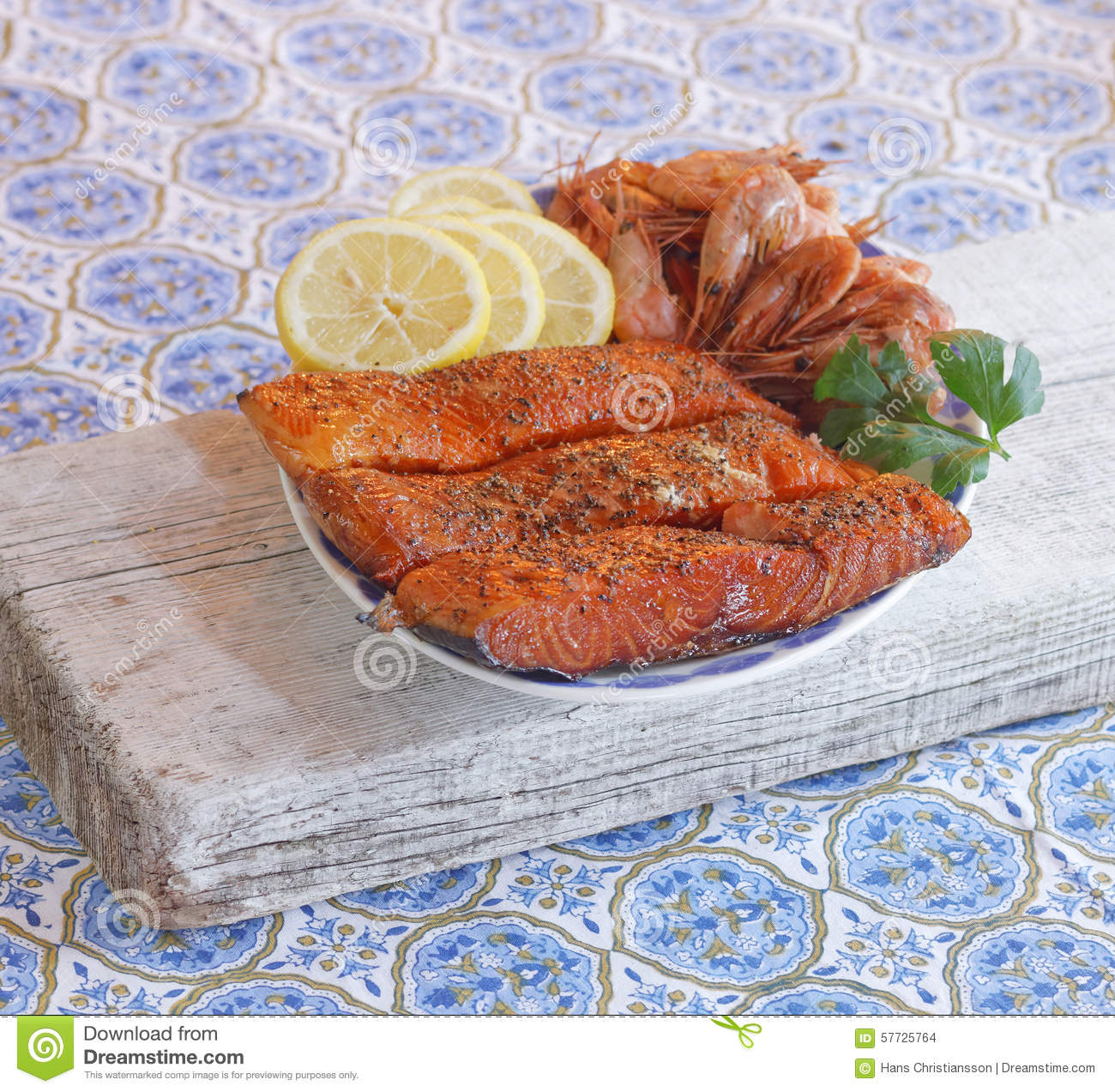 Plate Of Smoked Salmon Shrimps Lemon And Parsely Stock Photo 57725764 Megapixl
