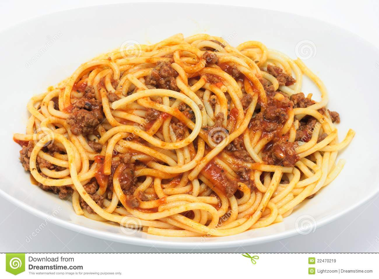 Plate Of Spaghetti Bolognese Stock Image Image 22470219