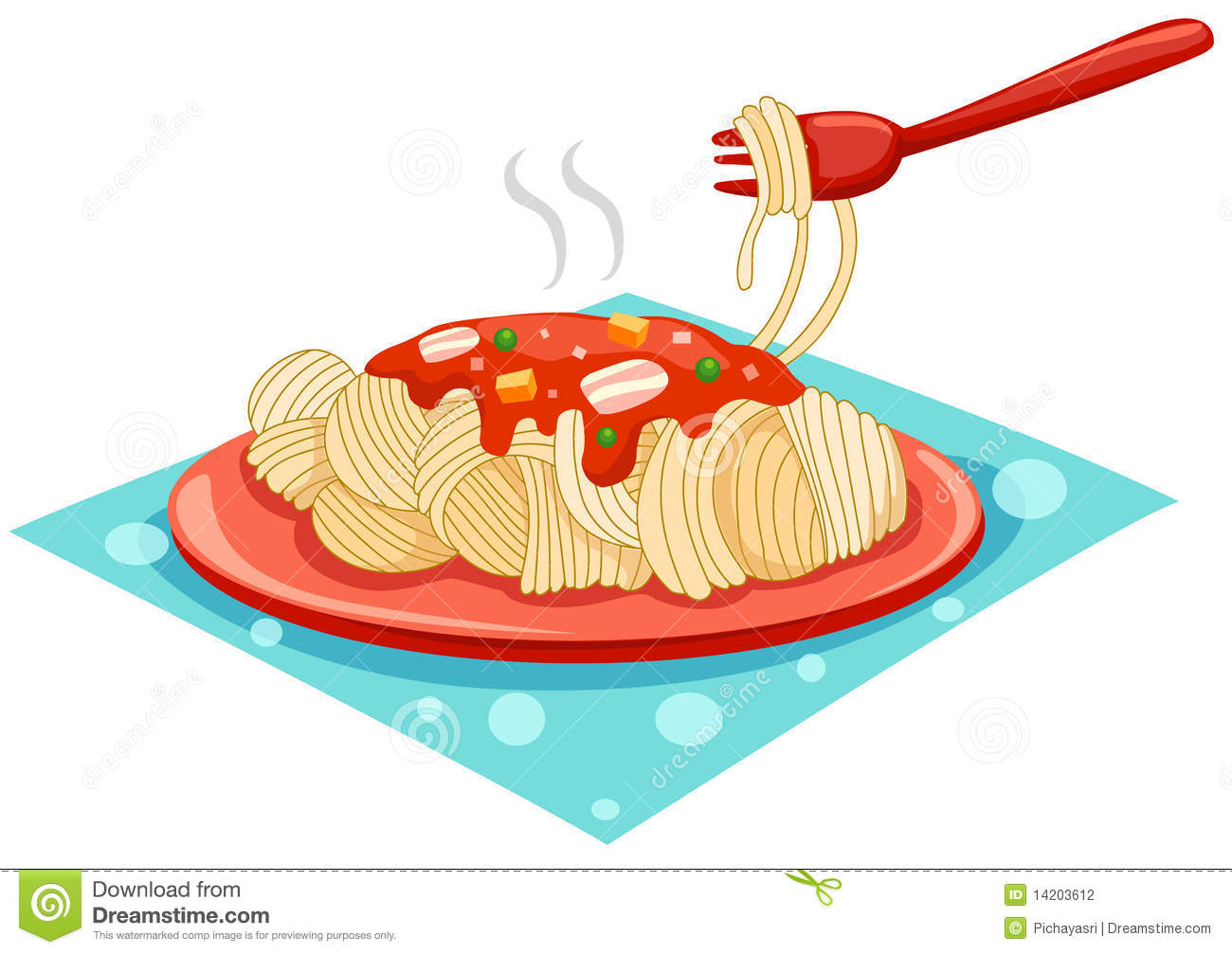 a plate of spaghetti with fork stock photography