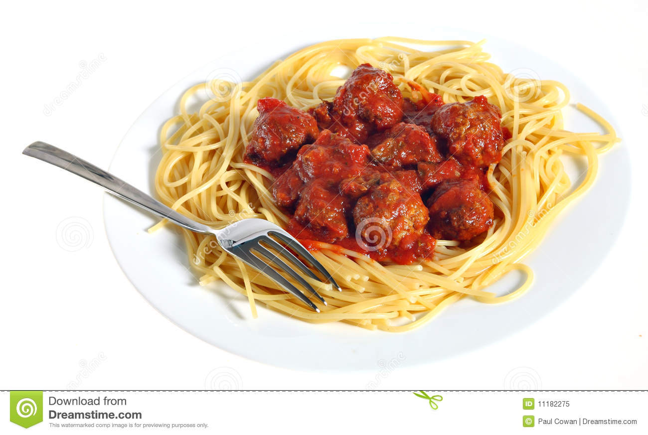 plate of spaghetti and meatballs royalty free stock photo