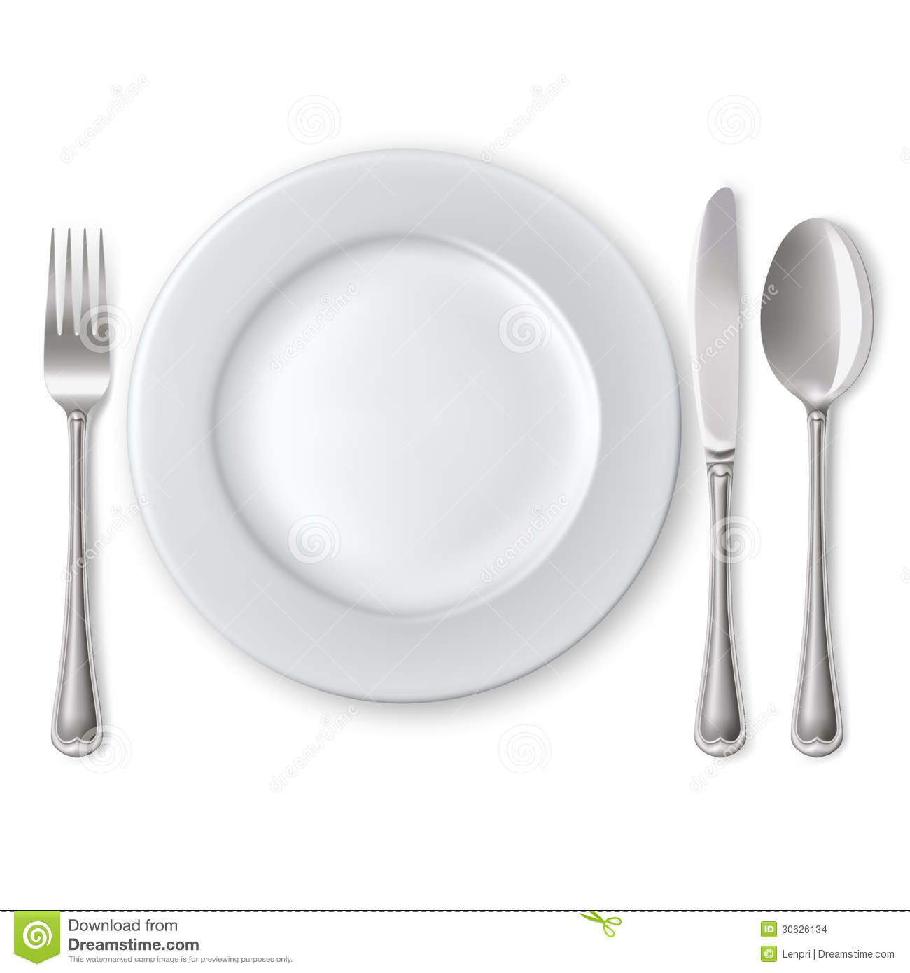 Plate With Spoon Knife And Fork Stock Images Image