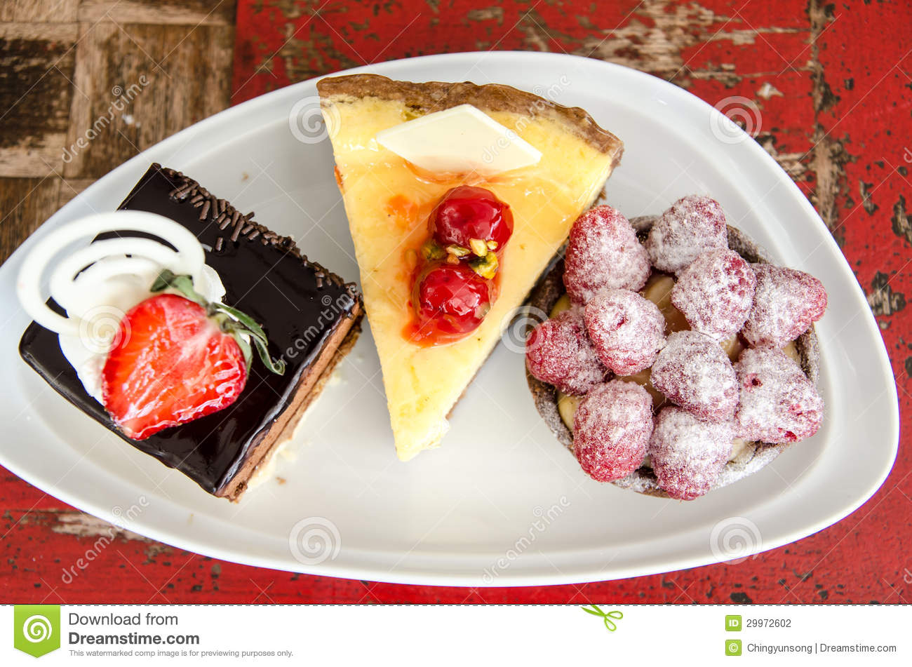 Plate With 3 Types Of Cakes Stock Photography Image