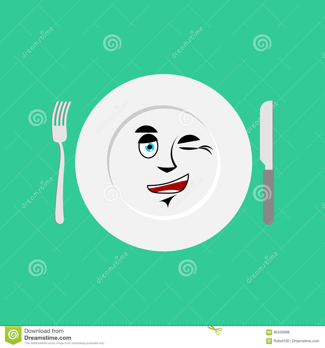 Plate Winks Emoji  Empty Dish Isolated Cheerful Emotion Stock Vector