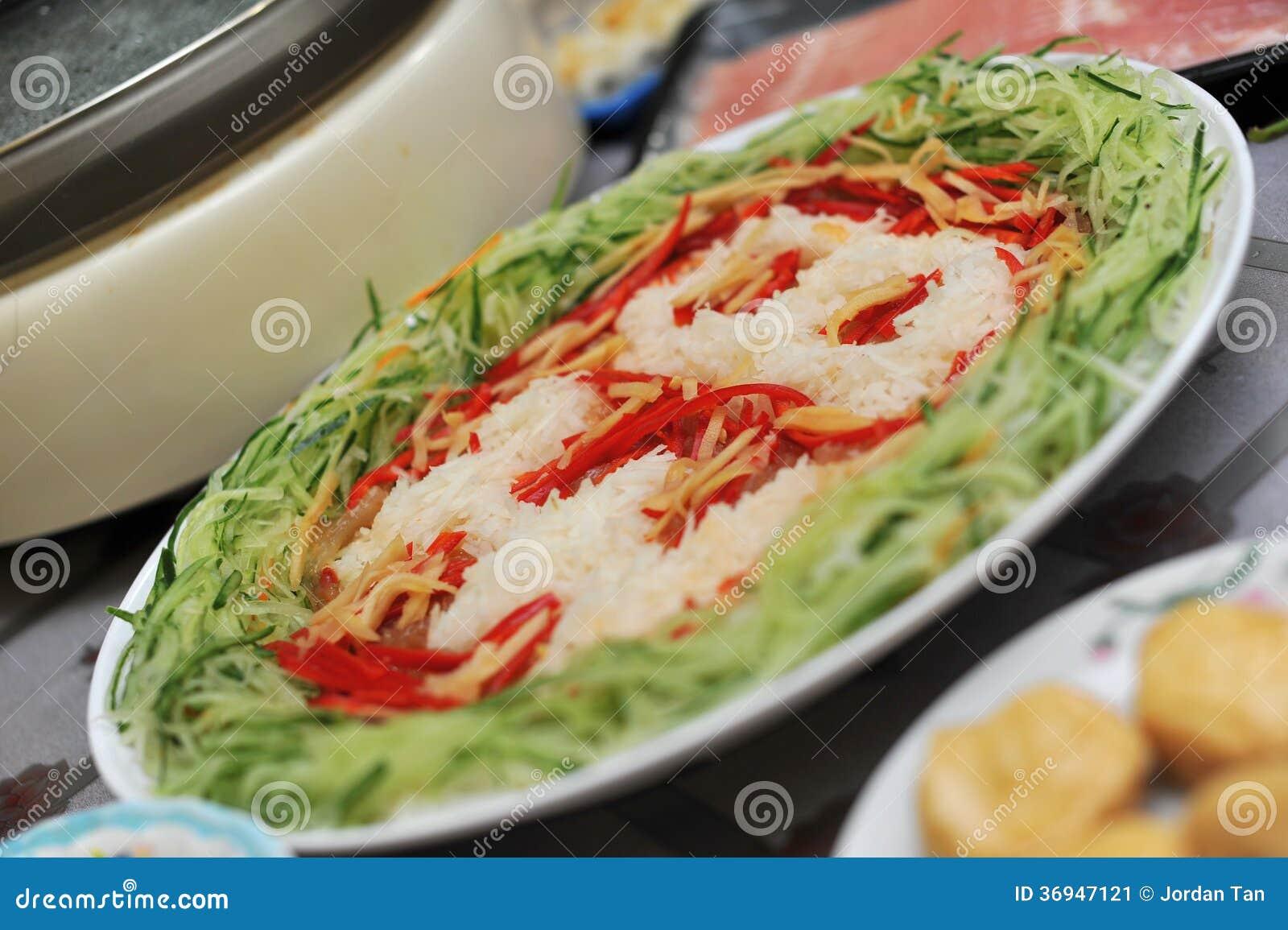 Plate Of Yu Sheng Raw Fish Salad Stock Image Image