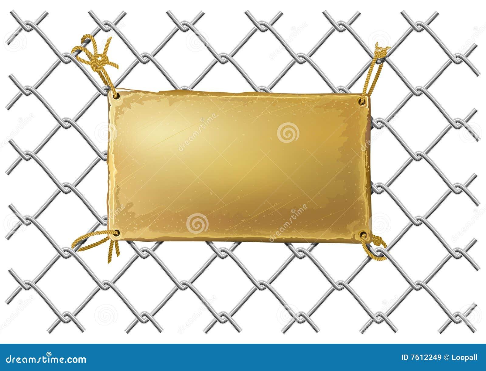 Plateado de metal de bronce en blanco en una red de alambre