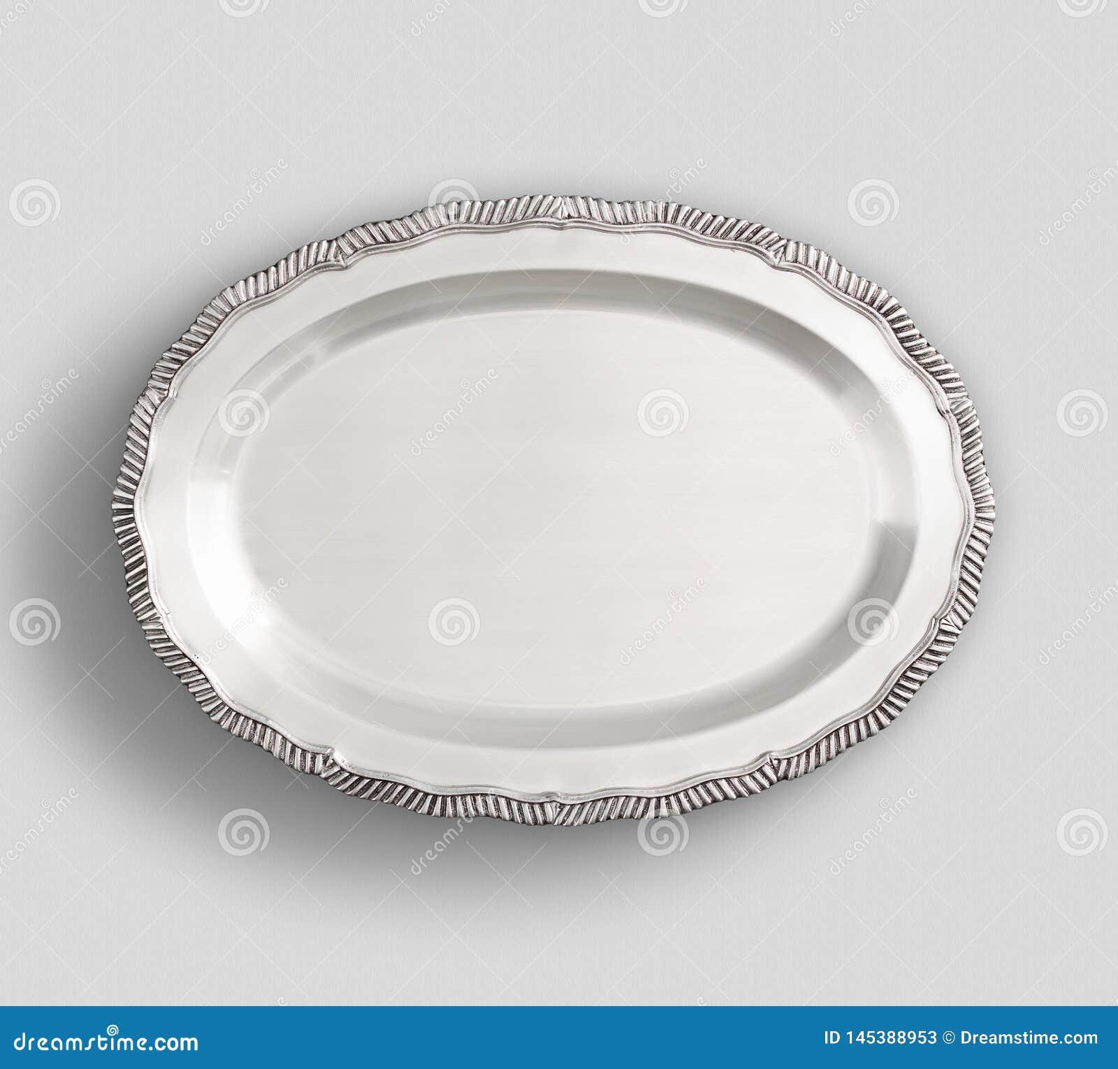 Plateau aux pieds ovale de plat argenté